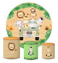 Kit Painel Redondo De Festa e Capas de Cilindro em tecido sublimado Jeep do Safari - Sublime Sonhos