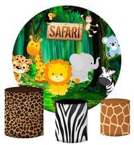 Kit Painel Redondo De Festa e Capas de Cilindro em tecido sublimado Safari Cute - Sublime Sonhos