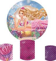 Kit Painel Redondo Festa 1,5m + Capas Cilindro Barbie Sereia - Mix Fundos Fotográficos