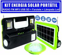 Kit Painel Solar Fotovoltaico Rádio Fm Mp3 Usb Sd, Lampada Led Lanterna Luz Emergência - LUATEK