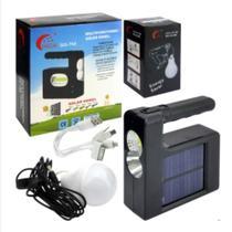 Kit Painel Solar Power Bank Com Lampada E Carregador Lanterna Emergencia Usb Celular Camping Praia - Makeda