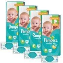 Kit Pampers Confort Sec Tamanho P 200 Unidades + Toalhinhas Umedecidas Sensitive 224 Unidades -
