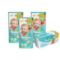 Kit Pampers Fraldas Confort Sec P com 150 Un + Toalhinhas Umedecidas Fresh Clean com 96 Unidades -