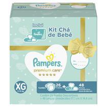 Kit Pampers Premium Care 26 Fralda  XG + 48 Lenços Umedecidos Aloe Vera -