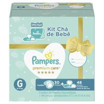 Kit Pampers Premium Care 30 Fralda G + 48 Lenços Umedecidos Aloe Vera -