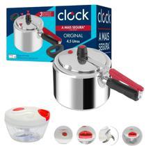 Kit panela de pressão polida 4,5 litros - Clock  e mini processador alimentos -