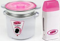 Kit Panela Depilação Termocera 900g Com Refil Branca Com Rosa + Aquecedor de Cera Roll-on Rosa - Mega Bell