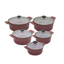 Kit Panelas Plus em Alumínio Fundido Revestimento Cerâmica Antiaderente 5 Peças Vermelho - Aluminios J.R
