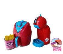Kit Panelinha Air Fryer +Cafeteira Kids Mini Colors Menina Brinquedo Zuca Toys -