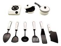 Kit Panelinhas Infantil com Fogão Panelas e Acessórios de Cozinha Diversão - Small Kitchen Branco MS1424 -