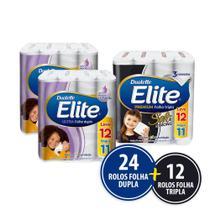 Kit Papel Higienico Elite 24 Rolos Folha Dupla + 12 Folha Tripla -