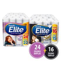 Kit Papel Higienico Elite 24 Rolos Folha Dupla + 16 Folha Tripla -