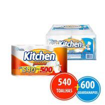 Kit Papel Toalha Kitchen Folha Dupla 540 Folhas + 12 Pacotes Guardanapo -