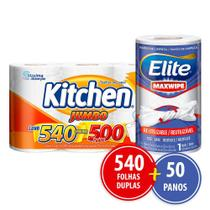 Kit Papel Toalha Kitchen Promocional 540 Folhas + 50 Panos Reutilizáveis -