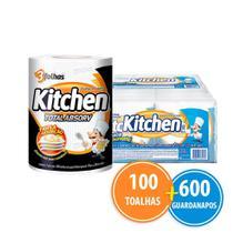 Kit Papel Toalha Kitchen Total Absorv 100 Folhas + 12 Pacotes Guardanapo -