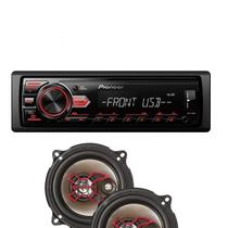 Kit Par Auto Falantes 5 Pol. + Rádio Automotivo Usb Pioneer - Pioneer/Bravox