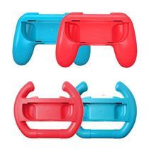 Kit Par de Volante e Par de Grip para Joy Con Nintendo Switch Vermelho e Azul - Dobe