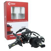 Kit Par Lâmpada Super Led Cree Automotiva Farol Carro 8800 Lumens 12V 24V Cinoy Plus H4 (Bi) 6500K -