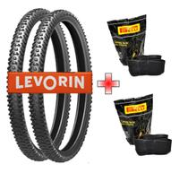 Kit Par Pneu Levorin Excess 26x1.75 +2 Camara Pirelli - MTB Bike Trilha -