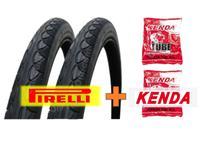 Kit Par Pneu Pirelli Touring 700x35 Mtb + 2 Camaras Kend -