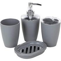 Kit Para Banheiro 4 Peças Em Plástico Cinza Hauskraft - Novo - Etilux