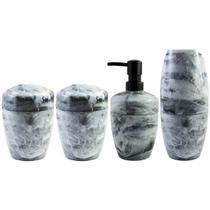 Kit Para Banheiro Acessórios Design Marmorizado De Plástico Branco Carrara - Ou