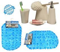 Kit Para Banheiro Branco 4 Peças Em Plástico + Tapete Para Box PVC Antiderrapante Azul - Casita