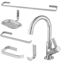 Kit para banheiro completo com torneira lavatório bica móvel - Oliveira