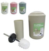 Kit para banheiro lixeira redonda de plastico colors com escova sanitaria de metal - Fwb