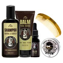Kit Para Barba Rubra, Balm + Óleo + Pomada Modeladora, Pente - Barba De Macho