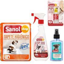 Kit para cães: Tapete Higiênico 7un, Stop Dog, Pipi Pode, Seca Xixi (Transforma xixi em pó) e Colônia Sanol Baby -