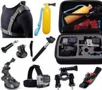 Kit para Câmeras de Acão Action CAM com Mala Média Cinta Ombro Suporte Guidão Pulso 360 Ventosa - Generico