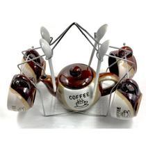 Kit para Chá Café com Bule Xícaras Colher e Suporte 10 pçs - Import