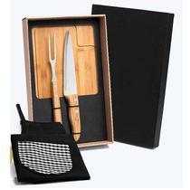 Kit para Churrasco em Bambu / INOX com Avental -4 Peças WELF -