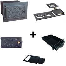 Kit para fogão a lenha com forno grande com porta de ferro e chapa de 3 furos multiuso - Estação Casa