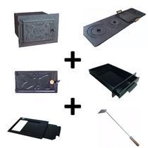 Kit para fogão a lenha com forno grande com porta de ferro e chapa de 4 furos multiuso - Estação Casa