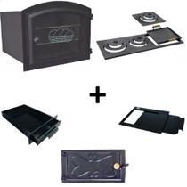 Kit para fogão a lenha com forno grande e chapa de 3 furos multiuso - Estação Casa