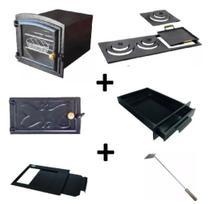 Kit para fogão a lenha com forno pequeno e chapa de 3 furos multiuso - Estação Casa