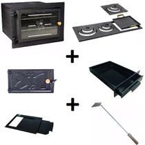 Kit para fogão a lenha: Forno de ferro com vidro reto, chapa, cinzeiro, gaveta, regulador e limpador - Estação Casa