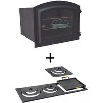 Kit para fogão a lenha: Forno de ferro fundido grande com vidro e chapa multiuso de 3 furos - Estação Casa