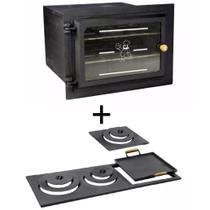 Kit para fogão a lenha: Forno de ferro fundido grande com vidro reto e chapa multiuso de 3 furos - Estação Casa
