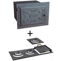 Kit para fogão a lenha: Forno de ferro fundido grande e chapa multiuso de 3 furos - Estação Casa