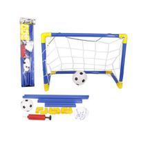 Kit para Futebol Infantil com 1 Bola, 1 Traves Azul, 1 Rede e 1 Bomba - Ref. WB5841 - Wellmix