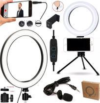 Kit Para Gravar Vídeo no Celular Ring Light Iluminador Branco Quente Frio Tripé Microfone de Lapela + Suporte Universal - Leffa Shop
