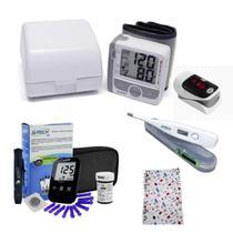 Kit Para Idosos Completo com Glicose Aparelho de Pressão Aparelho Para Medir Saturação do Oxigênio - G-Tech