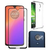Kit Para Motorola Moto G7 Plus Película 3d Curva De Vidro + Capa Flexível Incolor + Películ - Yellow Lens