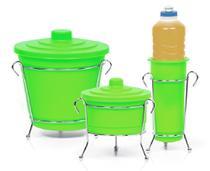 Kit para Pia 3 peças Niquelart 301-3 Cromo Colors Verde -