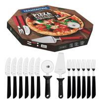 Kit Para Pizza 14 Peças - Lâminas De Aço Inox Preto - Tramontina