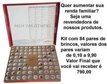 Kit para revenda bolha com 84 pares de brincos e cartela com os valores - SONHO FEMININO
