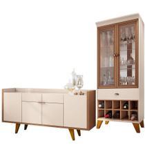 Kit Para Sala de Jantar Aparador 04 Portas Havana B01 com Cristaleira Luma Off White Nature - Lyam Decor -